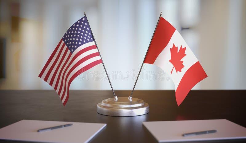 Σημαίες ΗΠΑ και Καναδά επί τάπητος Έννοια της διαπραγμάτευσης και της εταιρικής σχέσης Εικόνα απόδοσης 3D στοκ φωτογραφία με δικαίωμα ελεύθερης χρήσης