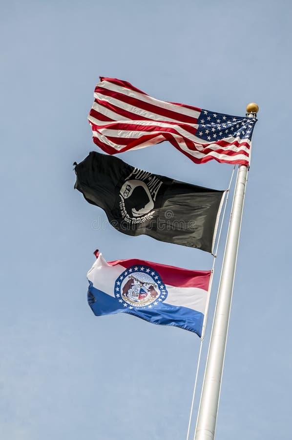 Σημαίες, ΗΠΑ, Μισσούρι, pow, mia, στοκ φωτογραφίες
