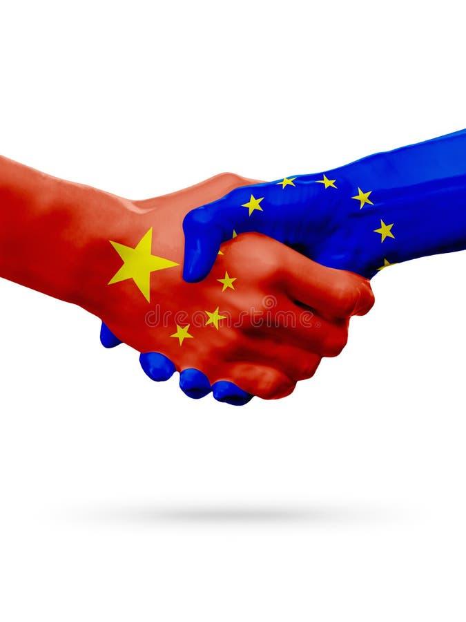 Σημαίες Κίνα, χώρες της Ευρωπαϊκής Ένωσης, έννοια χειραψιών φιλίας συνεργασίας τρισδιάστατη απεικόνιση στοκ εικόνες