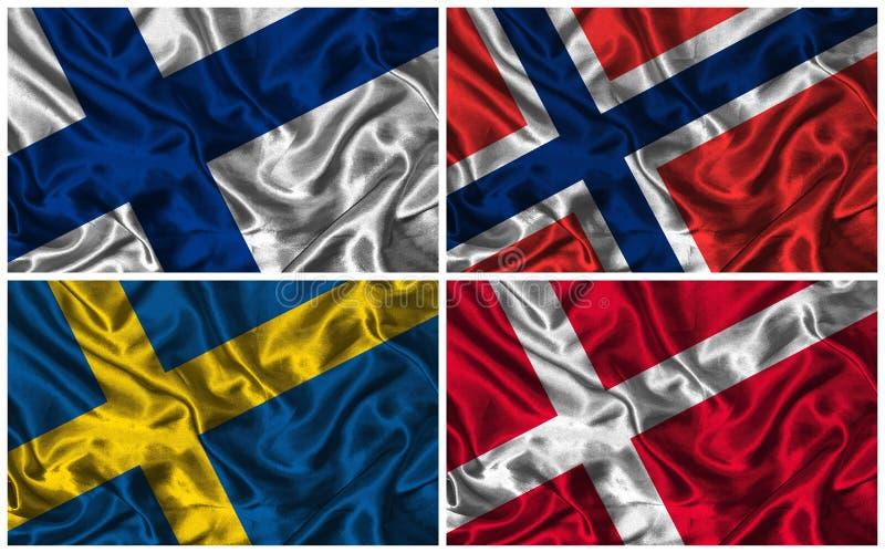 Σημαίες μεταξιού Σκανδιναβίας στοκ εικόνες