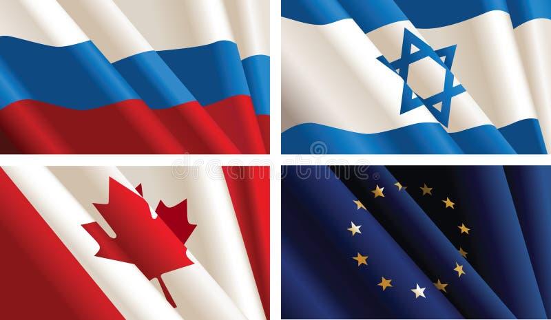 σημαίες που τίθενται διανυσματική απεικόνιση