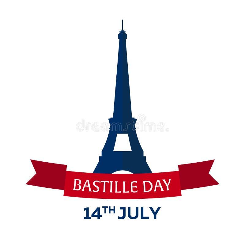 σημαίες πυροτεχνημάτων ημέρας ανασκόπησης bastille εορταστικές 14 Ιουλίου Παρίσι Τουρισμός πύργος του Άιφελ Γαλλία Σύγχρονο επίπε απεικόνιση αποθεμάτων