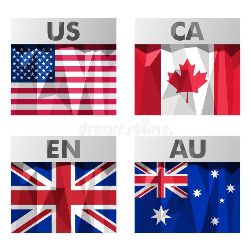 Σημαίες στο polygonal ύφος διανυσματική απεικόνιση