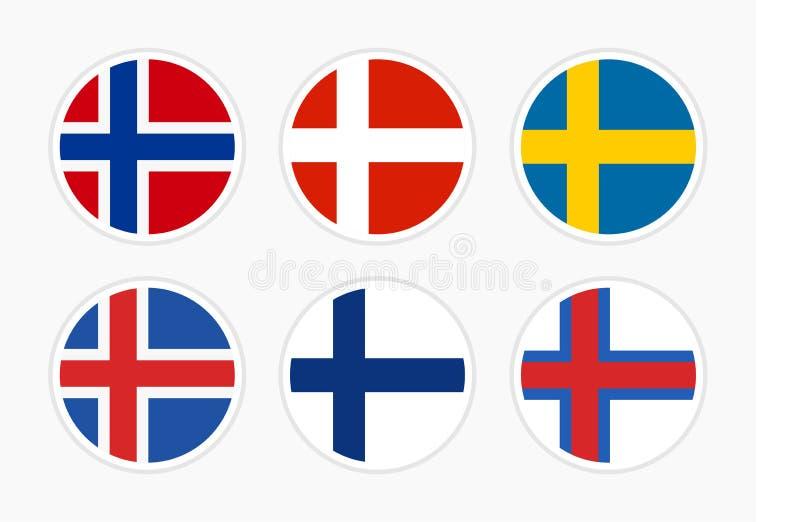 Σημαίες της βόρειας Ευρώπης, Σκανδιναβία, σύνολο διανυσματικής στρογγυλής απεικόνισης εικονιδίων στο άσπρο υπόβαθρο απεικόνιση αποθεμάτων