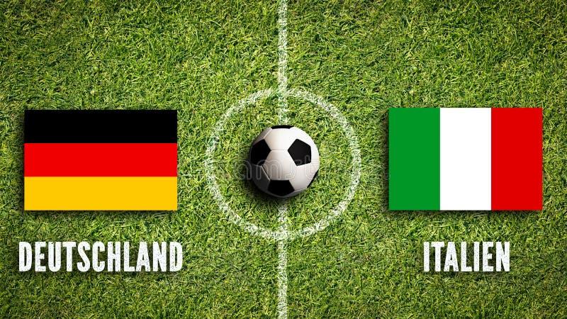 Σημαίες της Γερμανίας και της Ιταλίας σε ένα γήπεδο ποδοσφαίρου στοκ φωτογραφία με δικαίωμα ελεύθερης χρήσης