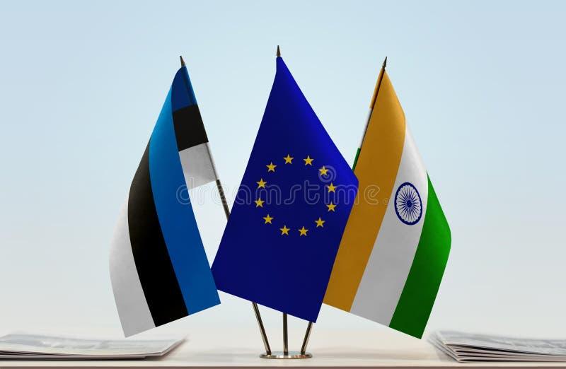Σημαίες της ΕΕ της Εσθονίας και της Ινδίας στοκ εικόνες με δικαίωμα ελεύθερης χρήσης