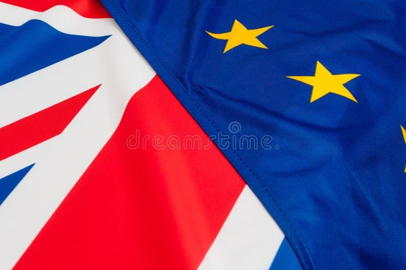 Σημαίες της ΕΕ και του UK στοκ φωτογραφία με δικαίωμα ελεύθερης χρήσης