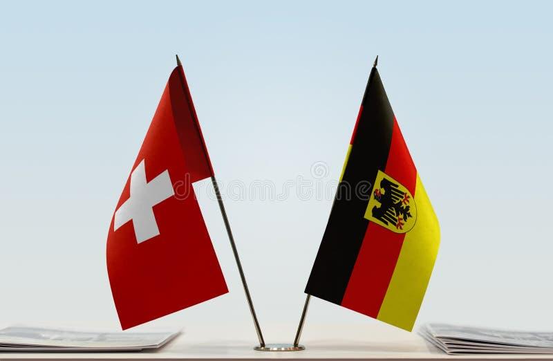 Σημαίες της Ελβετίας και της Γερμανίας στοκ εικόνες