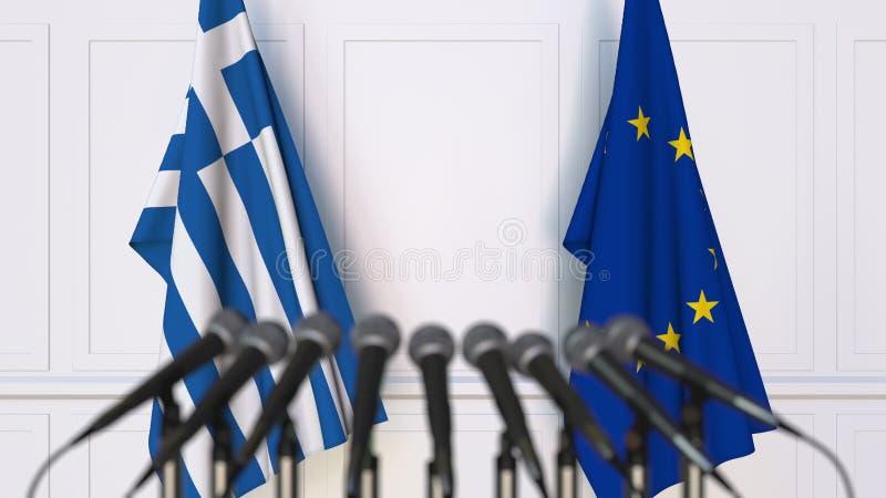 Σημαίες της Ελλάδας και της Ευρωπαϊκής Ένωσης στη διεθνή συνεδρίαση ή τη διάσκεψη τρισδιάστατη απόδοση ελεύθερη απεικόνιση δικαιώματος
