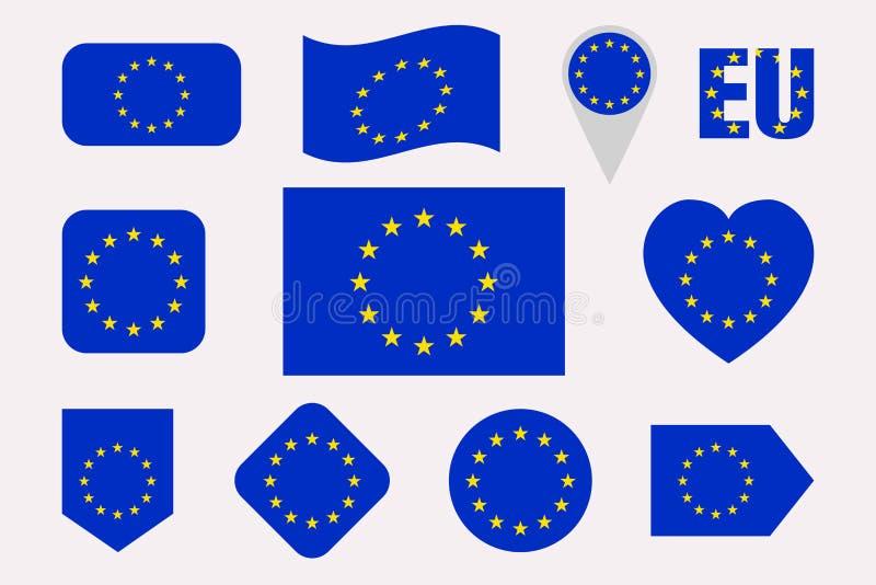 Σημαίες της Ευρωπαϊκής Ένωσης καθορισμένες Οριζόντια απομονωμένα εικονίδια η ΕΕ σημαιοστολίζει τη συλλογή Ιστός, οικονομικές, πολ ελεύθερη απεικόνιση δικαιώματος