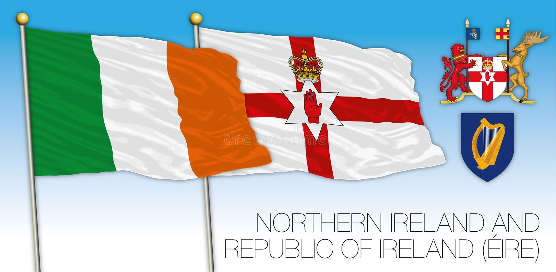 Σημαίες της Ιρλανδίας Ιρλανδίας και του Βορρά, διανυσματική απεικόνιση, Ευρώπη απεικόνιση αποθεμάτων