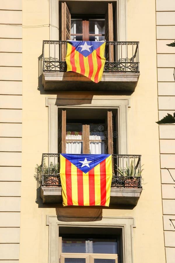 Σημαίες της Καταλωνίας για την ανεξαρτησία, Ισπανία στοκ εικόνα με δικαίωμα ελεύθερης χρήσης