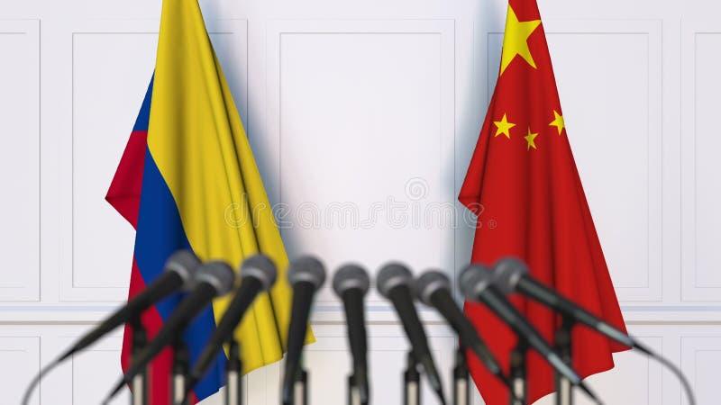 Σημαίες της Κολομβίας και της Κίνας στη διεθνή συνεδρίαση ή τη διάσκεψη τρισδιάστατη απόδοση ελεύθερη απεικόνιση δικαιώματος