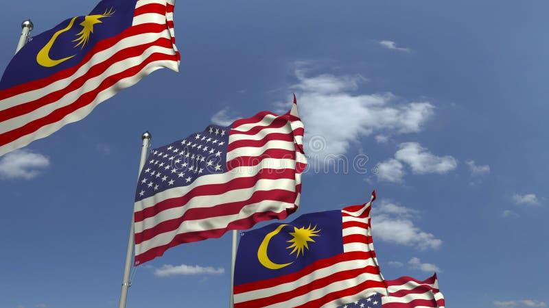 Σημαίες της Μαλαισίας και των ΗΠΑ ενάντια στο μπλε ουρανό, τρισδιάστατη απόδοση στοκ φωτογραφία με δικαίωμα ελεύθερης χρήσης