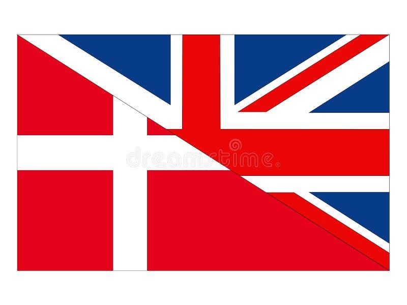 Σημαίες της Μεγάλης Βρετανίας και της Δανίας απεικόνιση αποθεμάτων