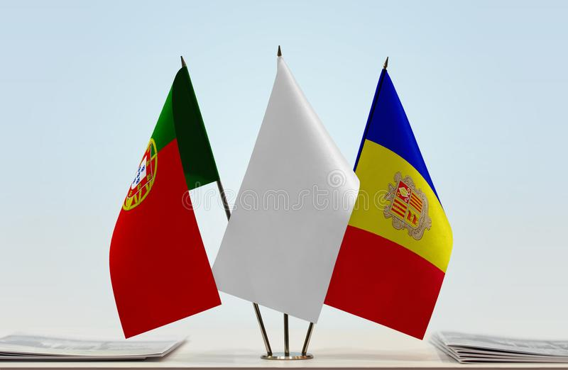 Σημαίες της Πορτογαλίας και της Ανδόρας στοκ εικόνα
