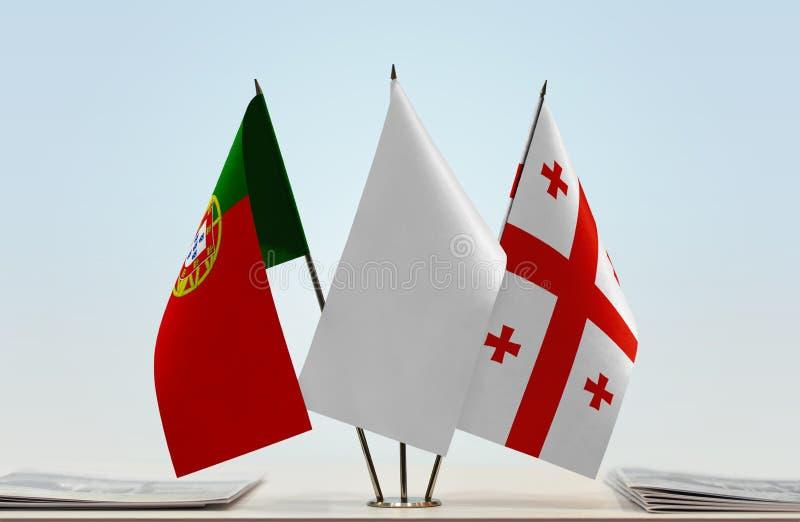 Σημαίες της Πορτογαλίας και της Γεωργίας στοκ εικόνες