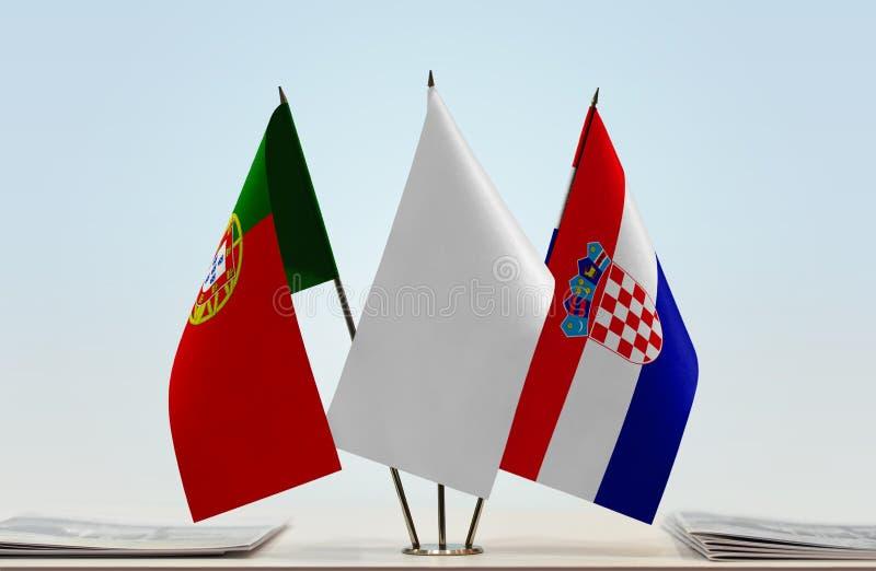 Σημαίες της Πορτογαλίας και της Κροατίας στοκ φωτογραφίες με δικαίωμα ελεύθερης χρήσης