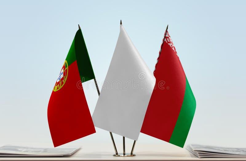 Σημαίες της Πορτογαλίας και της Λευκορωσίας στοκ εικόνα