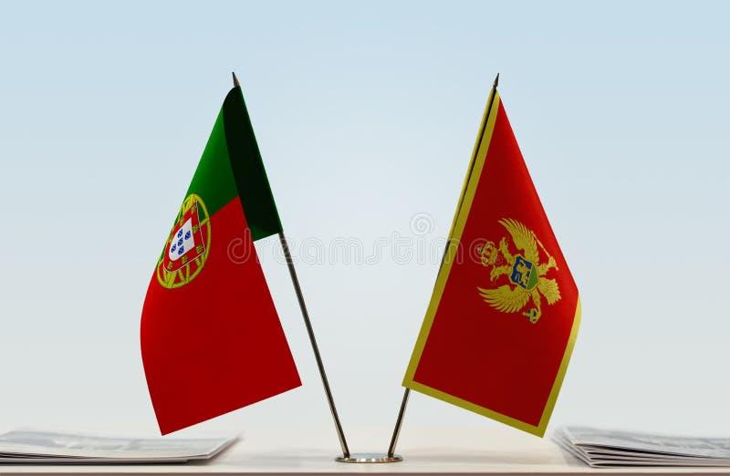 Σημαίες της Πορτογαλίας και του Μαυροβουνίου στοκ εικόνες