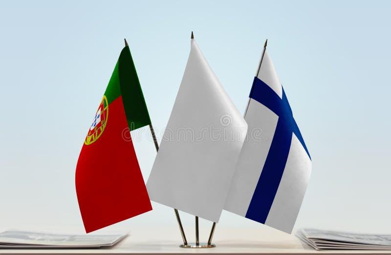 Σημαίες της Πορτογαλίας και της Φινλανδίας στοκ εικόνες