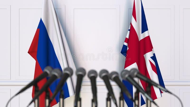 Σημαίες της Ρωσίας και Βασίλειο στη διεθνή συνεδρίαση ή τη διάσκεψη τρισδιάστατη απόδοση διανυσματική απεικόνιση