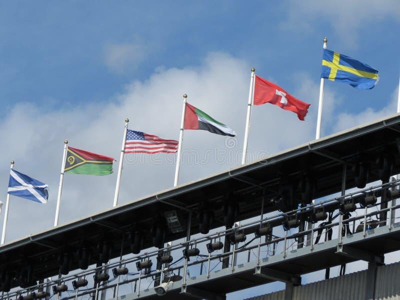 Σημαίες της Σκωτίας, των ΗΠΑ, της Ελβετίας, της Σουηδίας και άλλων χωρών στοκ εικόνα με δικαίωμα ελεύθερης χρήσης
