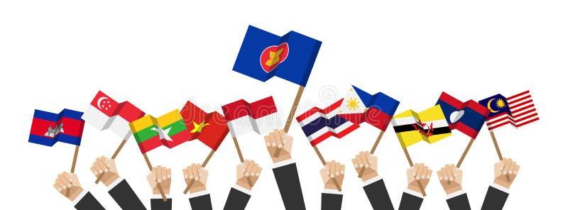 Σημαίες της ASEAN και ιδιότητας μέλους Η λαβή χεριών επιχειρηματιών και αυξάνει επάνω στο κοντάρι σημαίας Άσπρη απομονωμένη ανασκ απεικόνιση αποθεμάτων