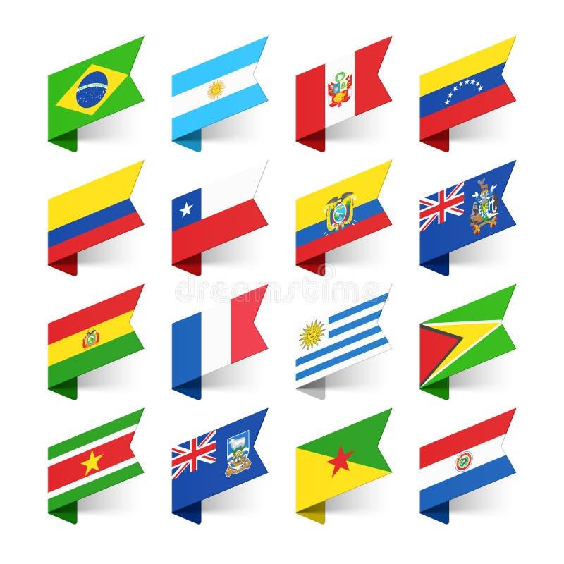 Σημαίες του κόσμου, Νότια Αμερική ελεύθερη απεικόνιση δικαιώματος