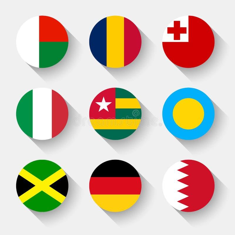 Σημαίες του κόσμου, στρογγυλά κουμπιά ελεύθερη απεικόνιση δικαιώματος