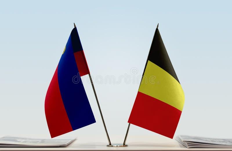 Σημαίες του Λιχτενστάιν και του Βελγίου στοκ φωτογραφία