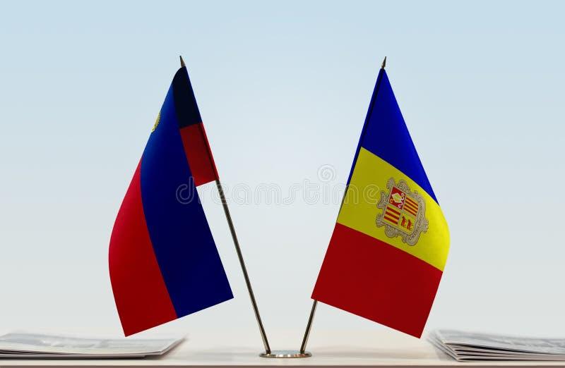 Σημαίες του Λιχτενστάιν και της Ανδόρας στοκ εικόνα με δικαίωμα ελεύθερης χρήσης