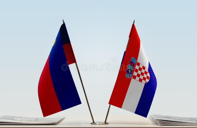 Σημαίες του Λιχτενστάιν και της Κροατίας στοκ φωτογραφία με δικαίωμα ελεύθερης χρήσης
