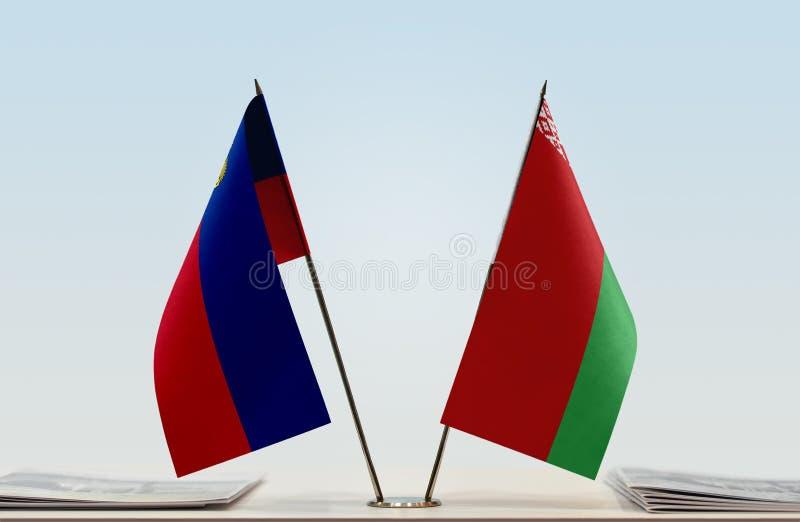 Σημαίες του Λιχτενστάιν και της Λευκορωσίας στοκ φωτογραφία