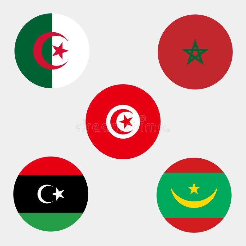 Σημαίες του Μαρόκου Αλγερία Τυνησία Μαυριτανία Λιβύη διανυσματική απεικόνιση
