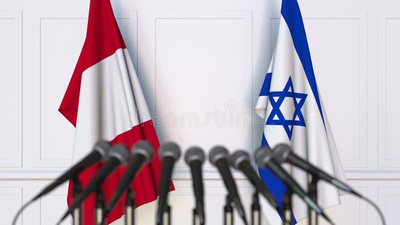 Σημαίες του Περού και του Ισραήλ στη διεθνή συνεδρίαση ή τη διάσκεψη τρισδιάστατη απόδοση στοκ εικόνα