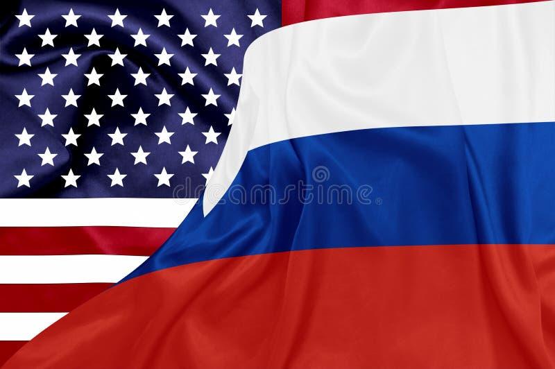 Σημαίες των Ηνωμένων Πολιτειών και Ρωσικής Ομοσπονδίας ελεύθερη απεικόνιση δικαιώματος