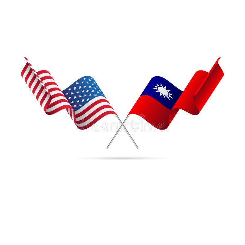 Σημαίες των ΗΠΑ και της Ταϊβάν επίσης corel σύρετε το διάνυσμα απεικόνισης ελεύθερη απεικόνιση δικαιώματος