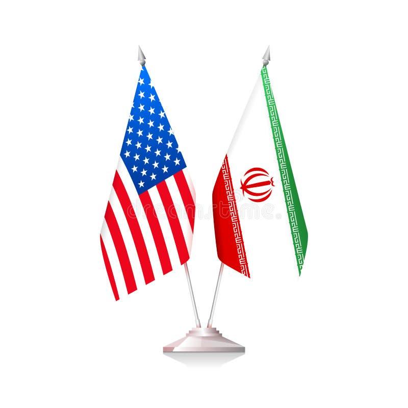 Σημαίες των ΗΠΑ και του Ιράν απεικόνιση αποθεμάτων