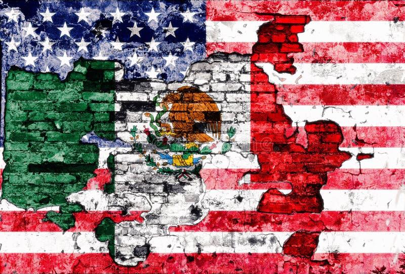 Σημαίες των ΗΠΑ και του Μεξικού που χρωματίζονται στο ραγισμένο τοίχο απεικόνιση αποθεμάτων
