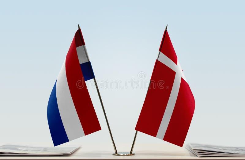 Σημαίες των Κάτω Χωρών και της Δανίας στοκ φωτογραφία