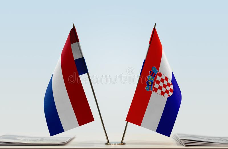Σημαίες των Κάτω Χωρών και της Κροατίας στοκ φωτογραφίες