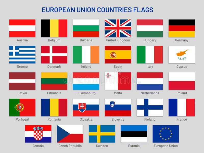 Σημαίες χωρών της Ευρωπαϊκής Ένωσης Διανυσματικό σύνολο κρατικών, χώρα μέλος της ΕΕ σημαιών ταξιδιού της Ευρώπης απεικόνιση αποθεμάτων