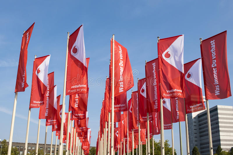 Σημαίες Vodafone σε IFA Βερολίνο στοκ φωτογραφίες