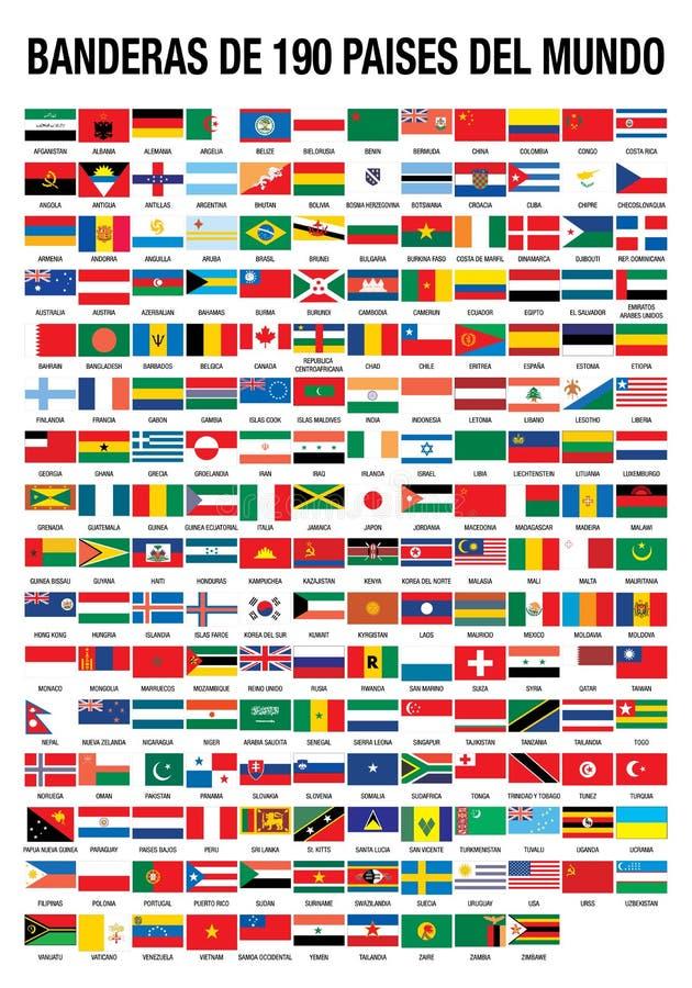 ΣΗΜΑΙΕΣ ΤΟΥ ΚΟΣΜΟΥ 190 ΧΩΡΕΣ ελεύθερη απεικόνιση δικαιώματος
