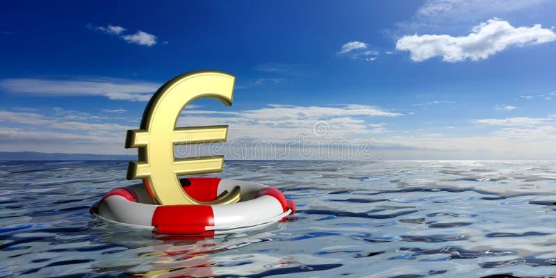 Σημαντήρας ζωής και ένα ευρο- σύμβολο στο μπλε υπόβαθρο θάλασσας τρισδιάστατη απεικόνιση απεικόνιση αποθεμάτων