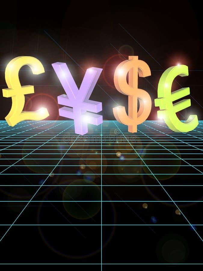 σημαντικά σύμβολα χρημάτων διανυσματική απεικόνιση