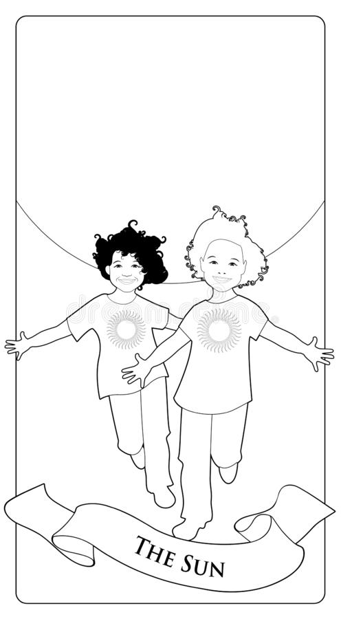 Σημαντικές κάρτες Arcana Tarot Ο ήλιος Δύο ευτυχή δίδυμα αγόρια που τρέχουν με τις ανοικτές αγκάλες μπροστά από τον ήλιο απεικόνιση αποθεμάτων