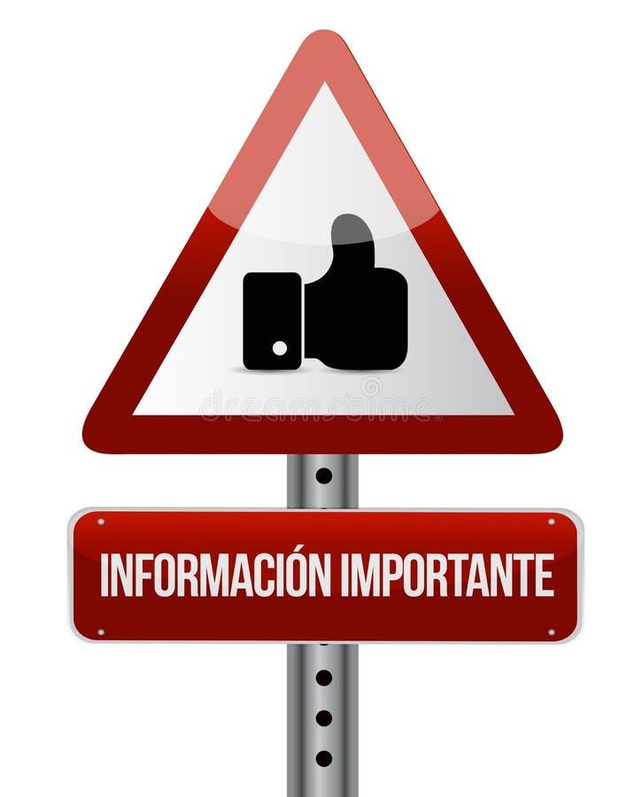σημαντικές πληροφορίες όπως το ισπανικό σημάδι διανυσματική απεικόνιση