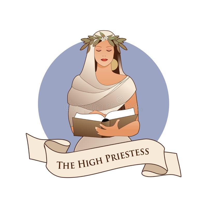 Σημαντική κάρτα Tarot εμβλημάτων Arcana Η υψηλή ιέρεια με ένα στεφάνι δαφνών που διαβάζει ένα βιβλίο που απομονώνεται στο άσπρο υ διανυσματική απεικόνιση